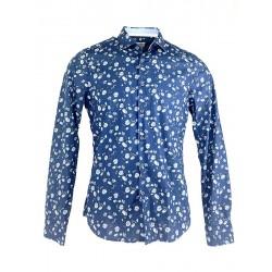 Chemise Bleue à fleur Olymp...