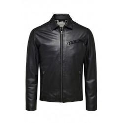 Blouson cuir noir Selected